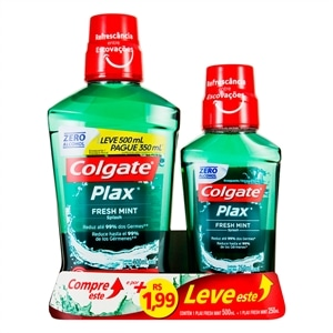 Enxaguatório Bucal Plax Colgate Fresh Mint 500ml + 1 99 Leve Fresh Mint 250ml (CP) Pack Promocional (Emb. contém 2un.)