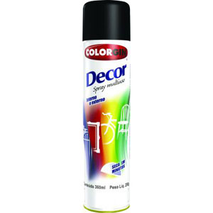 Tinta Spray Colorgin Decor 8711 Preto Fosco (Emb. contém 1un. de 360ml)