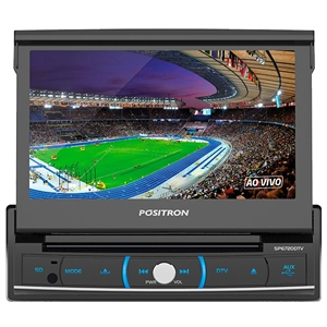 "Auto Radio Positron SP6720DTV 7"" com DVD TV 1-DIN USB  SD Card  Bluetooth (Emb. contém 1un.)"