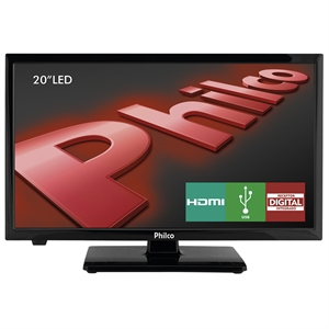 "TV 20"" LCD LED PH20U21D HD   2 HDMI   1 USB   DTVi Preto (Emb. contém 1un.) - Philco"
