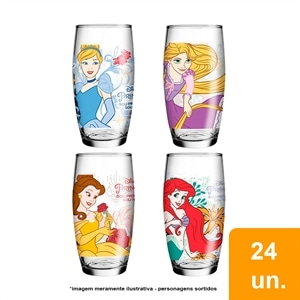 Copo Nadir Decorado Long Drink Princesas Disney (Emb. contém 24un.)