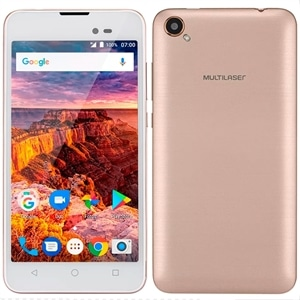 "Smartphone Multilaser MS50L Dual Chip Dourado Tela 5"" 3G+WiFi  Android 7.0  8MP  8GB"