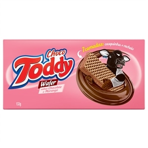 Biscoito Toddy Wafer Chocolate com Morango (Emb. contém 45un. de 132g cada)
